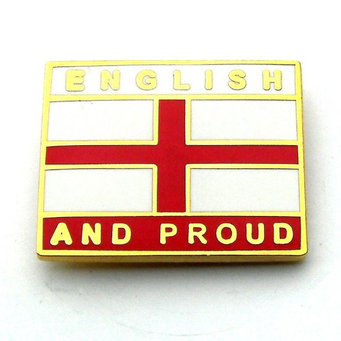 """English and Proud"" England Pin Badge  - Red"
